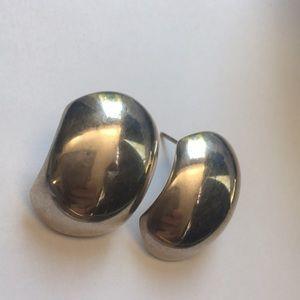 Sterling silver vintage wave pierced earrings